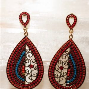 Beautiful red/blue beaded earring